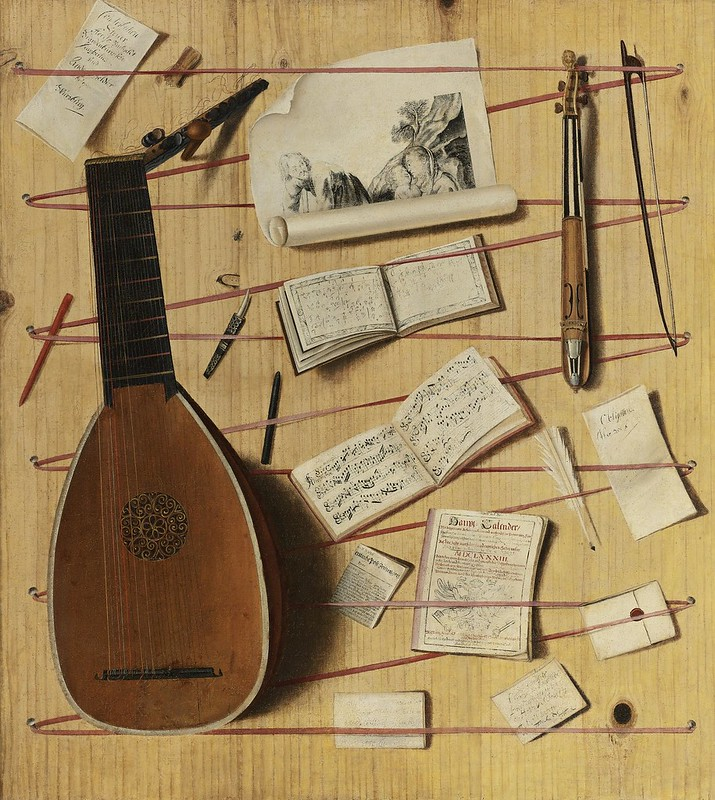 Attributed to Cornelis Norbertus Gijsbrechts - Trompe-L'oeil still life with a lute and rebec, music sheets, a print and other objects