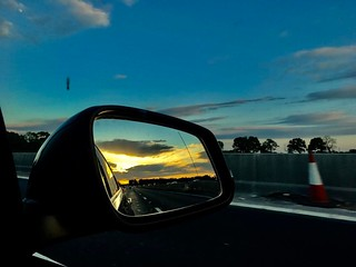Evening drive back from #scotland to #London. #uk #europe #roadtrip #rearviewmirror #iphonephotography #iphonephoto | by Dalfry
