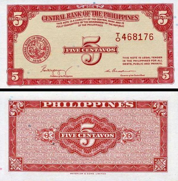 5 Centavos Filipíny 1949, P126a