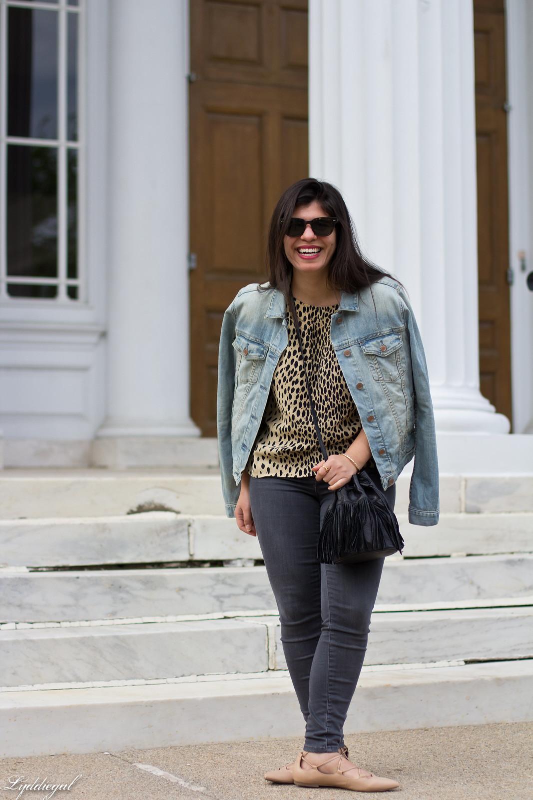 leopard blouse, grey jeans, denim jacket, fringe bag.jpg