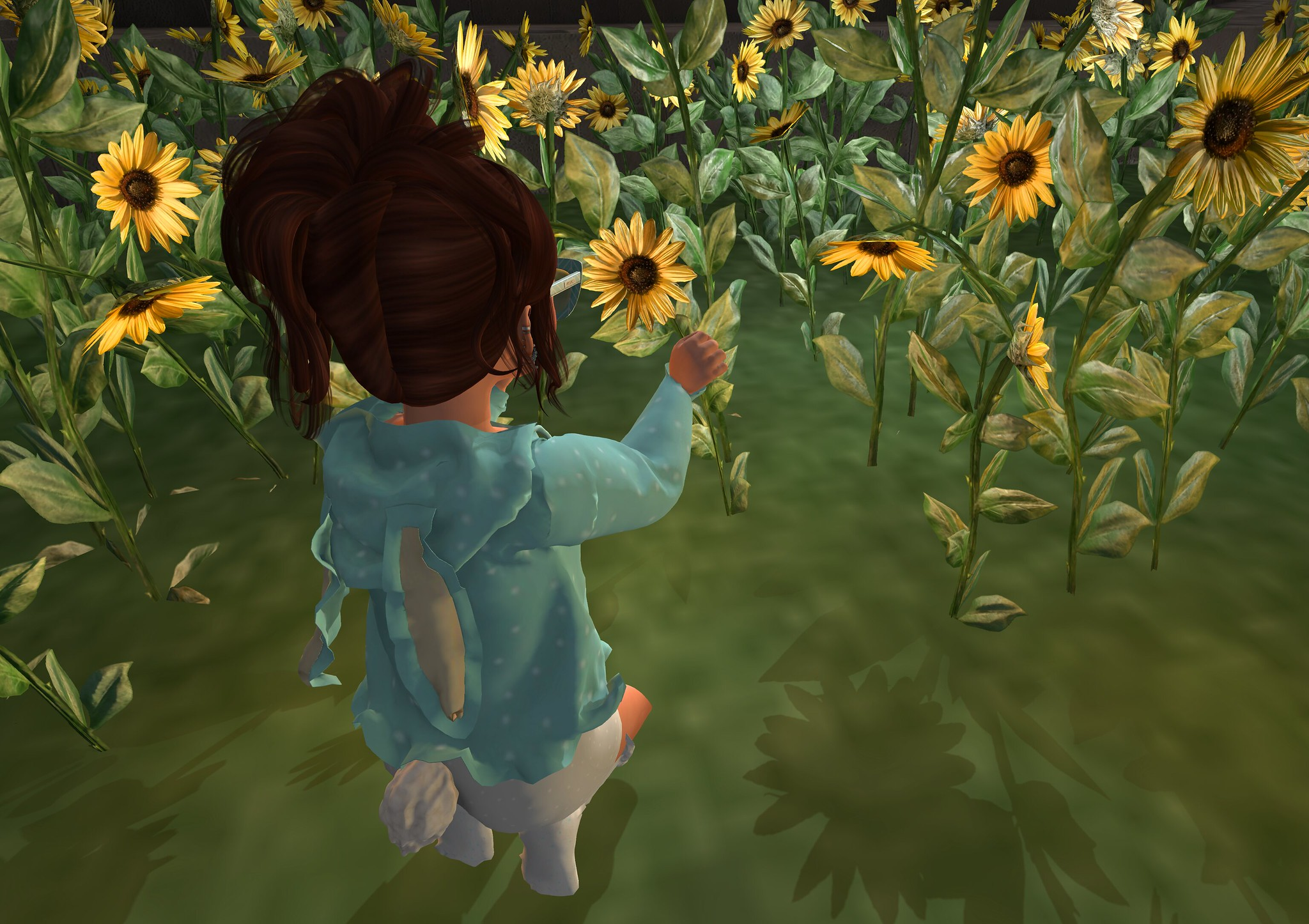 Picking Daisy for Mom - Kneel