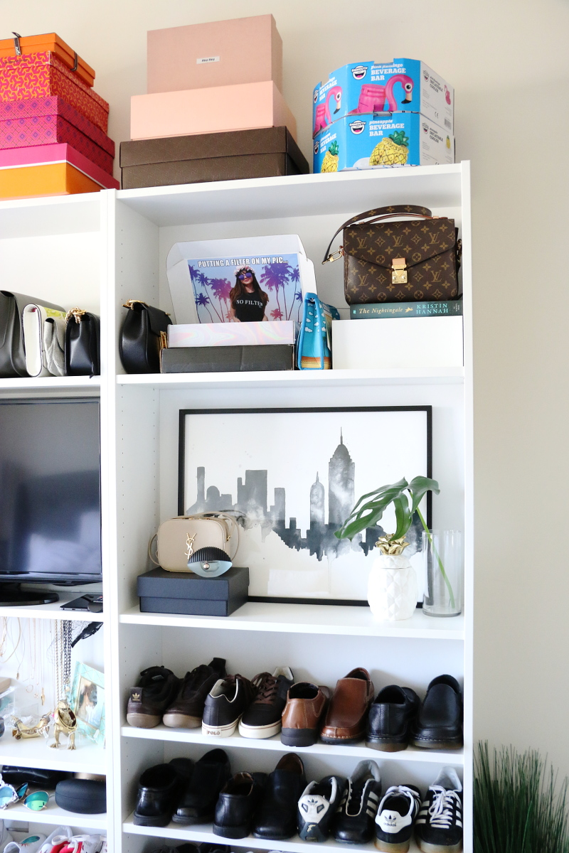 Shoe closet transformation how to organize your shoes styleanthropy photobox display shelf decor nyc skyline art 9 amipublicfo Image collections