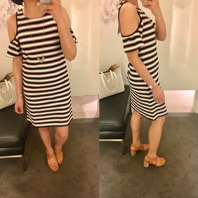 Ann Taylor Stripe Cold Shoulder Flutter Sleeve Dress, size XXSP