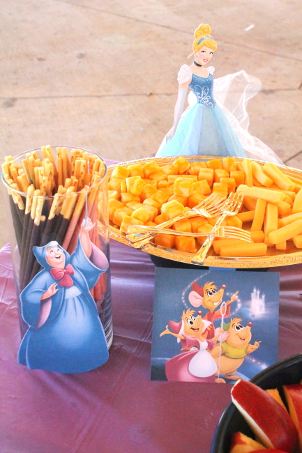 Cinderella with Pokky wands & cheese cubes