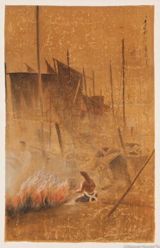 グエン・ファン・チャン《船を燻す》(1938年、グエン家蔵)修復後