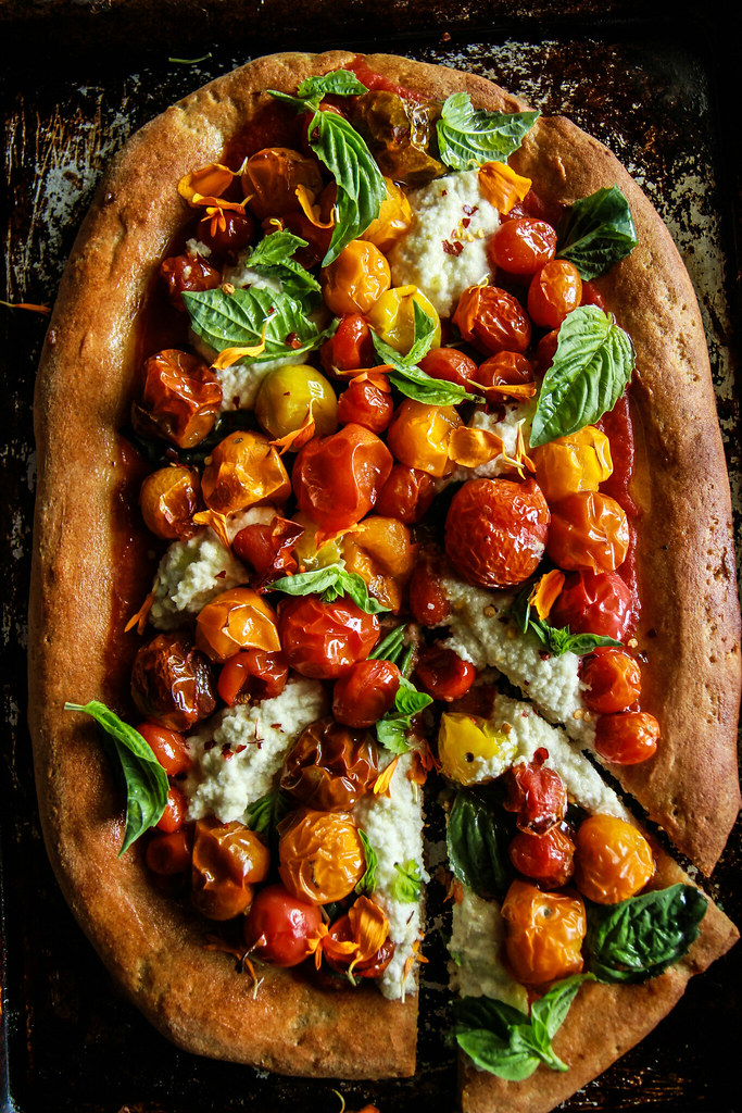 Vegan Gluten Free Roasted Cherry Tomato Pizza from HeatherChristo.com