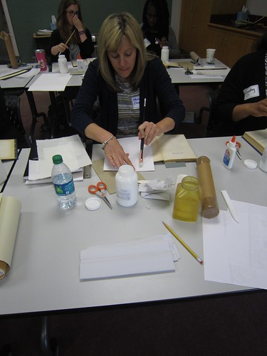 Gluing up Japanese tissue- Wake County Public Library Raleigh, NC
