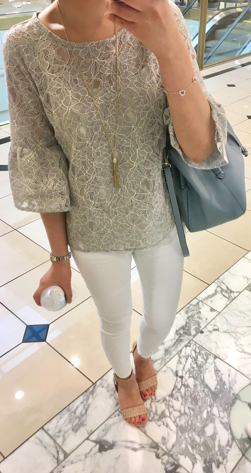 LOFT Floral Lace Bell Sleeve Top, size XXS regular