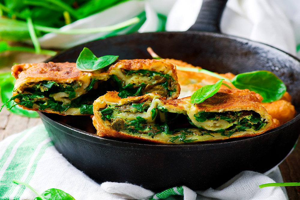 stuffed moldovan flatbreads dill and sorrel