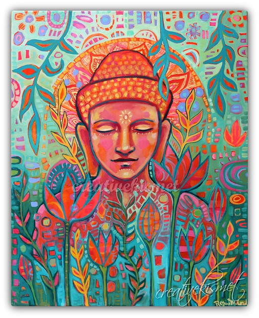 Buddha in Bloom Painting by Regina Lord