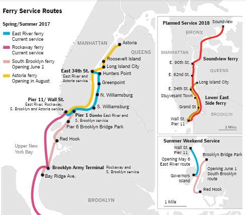 New New York City Ferry Service Map