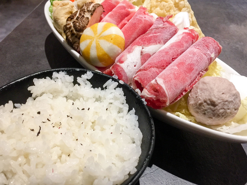 Mix beef/pork combo Shabu-Shabu set and white rice.