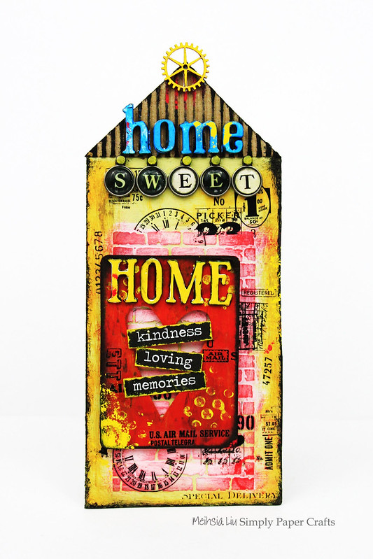 Meihsia Liu Simply Paper Crafts Mixed Media Tag Sweet Home Simon Says Stamp Tim Holtz 1