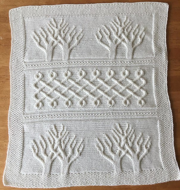 Finished baby blanket for Ripley: Tree of Life. #knitting #babyknits