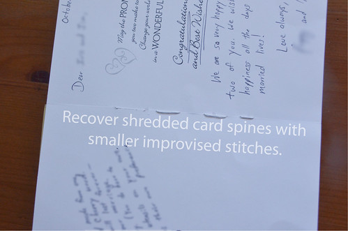 If Card Spine Shreds, use smaller stitches (i.e., make new holes)
