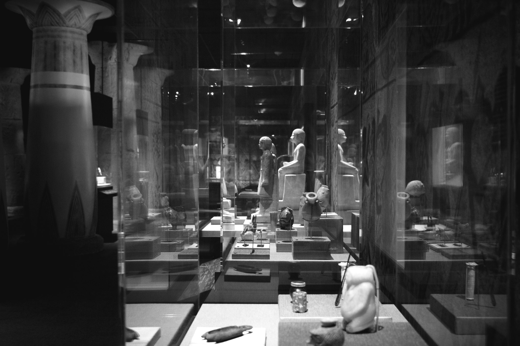 Egyptian Museum Exhibit (BW)