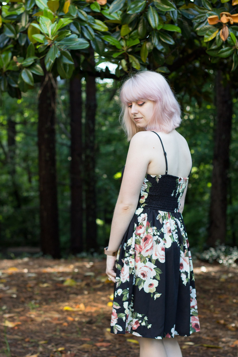 Black Floral Target Spaghetti Strap Dress with Pink Hair