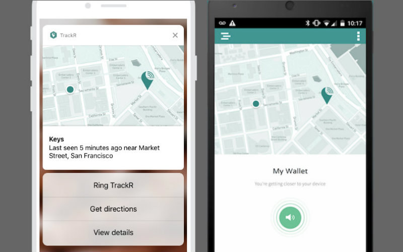 TrackR maps on iPhone and Android