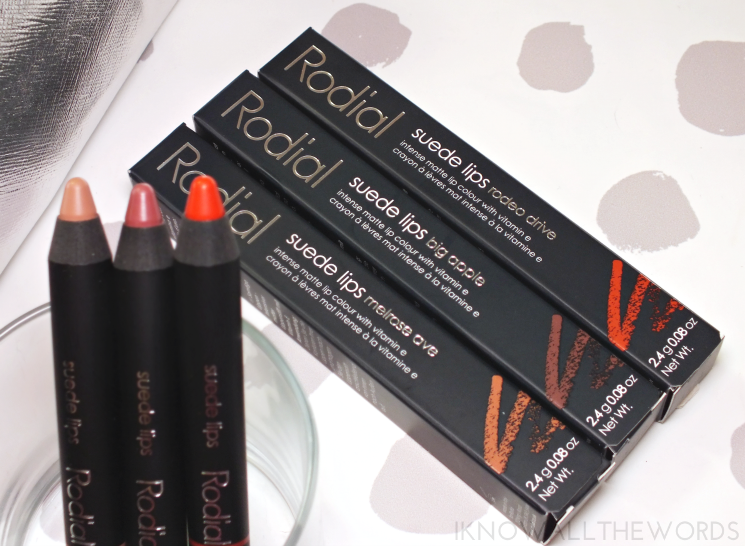 rodial suede lips melrose ave, big apple, and rodeo drive (1)