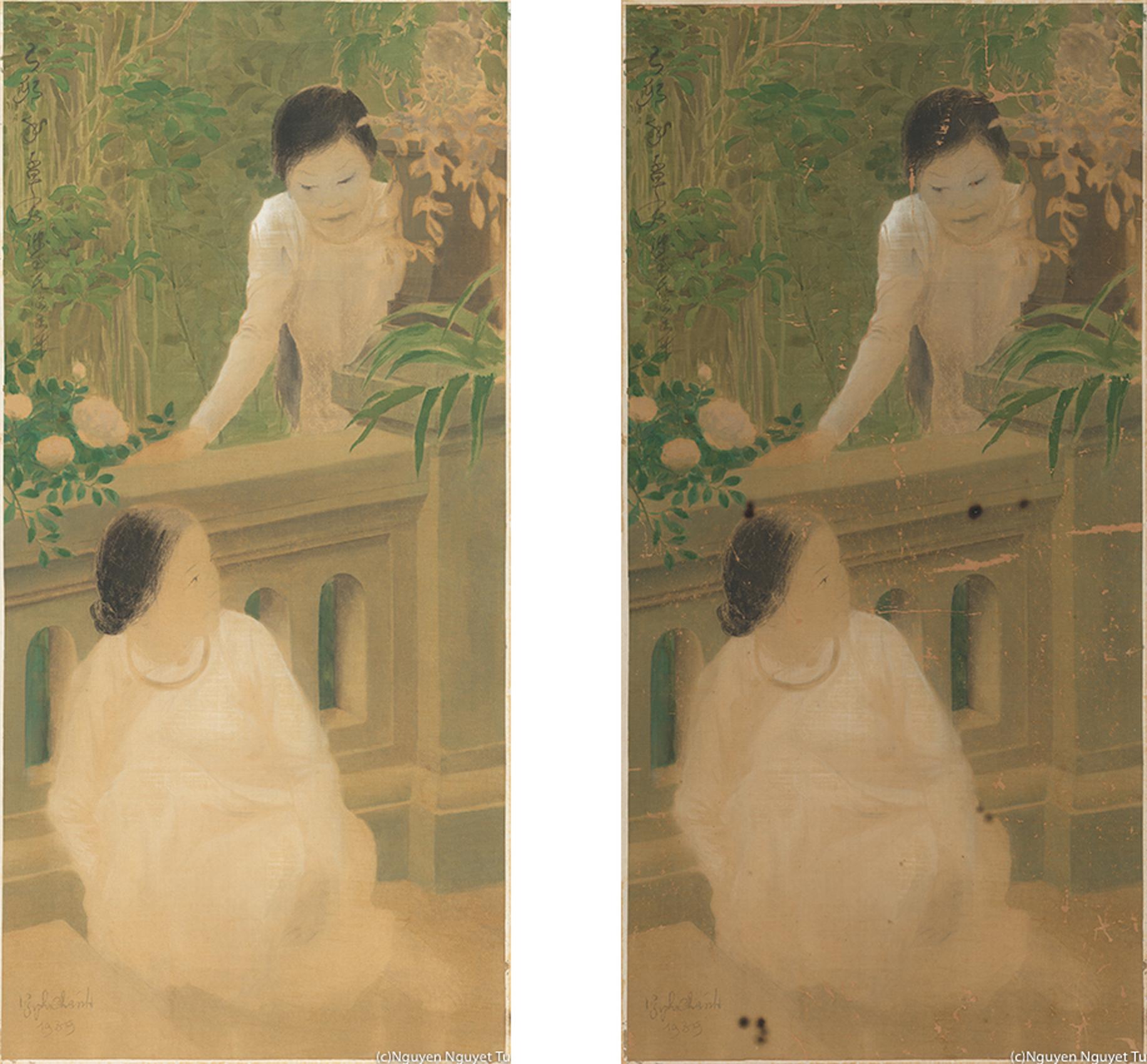 グエン・ファン・チャン《かくれんぼ》(1939年、グエン家蔵) 左)修復後 右)修復前