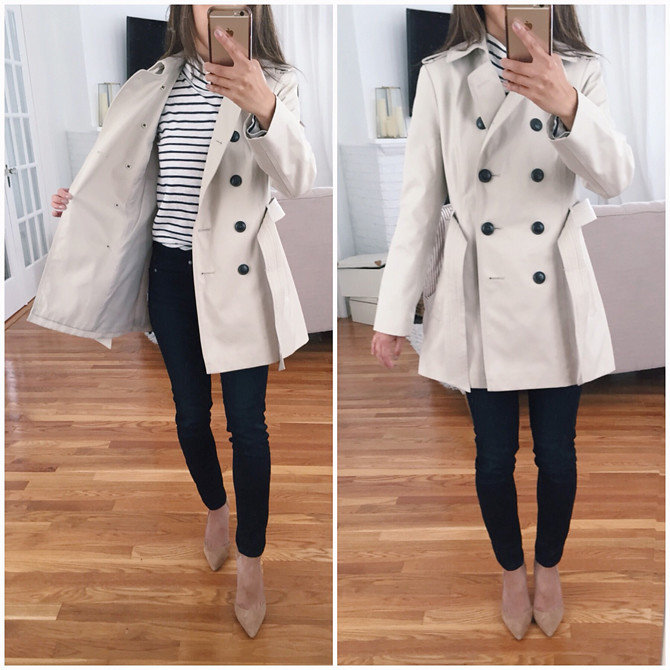 express classic petite trench coat review