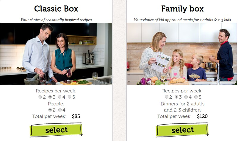 Perth food delivery service You Plate It box choices