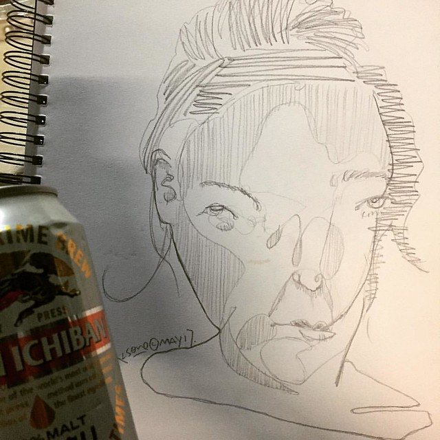 testing the new sketchbook paper texture with blind drawing and beer.
