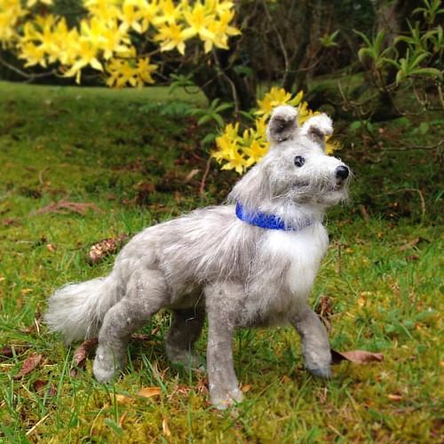 Baxter enjoyed his walk, though there were far less rabbits to chase than he'd hoped for. . #artdoll #poseableartdoll #ooakdoll #ooakartdoll #ooakdog #poseabledog