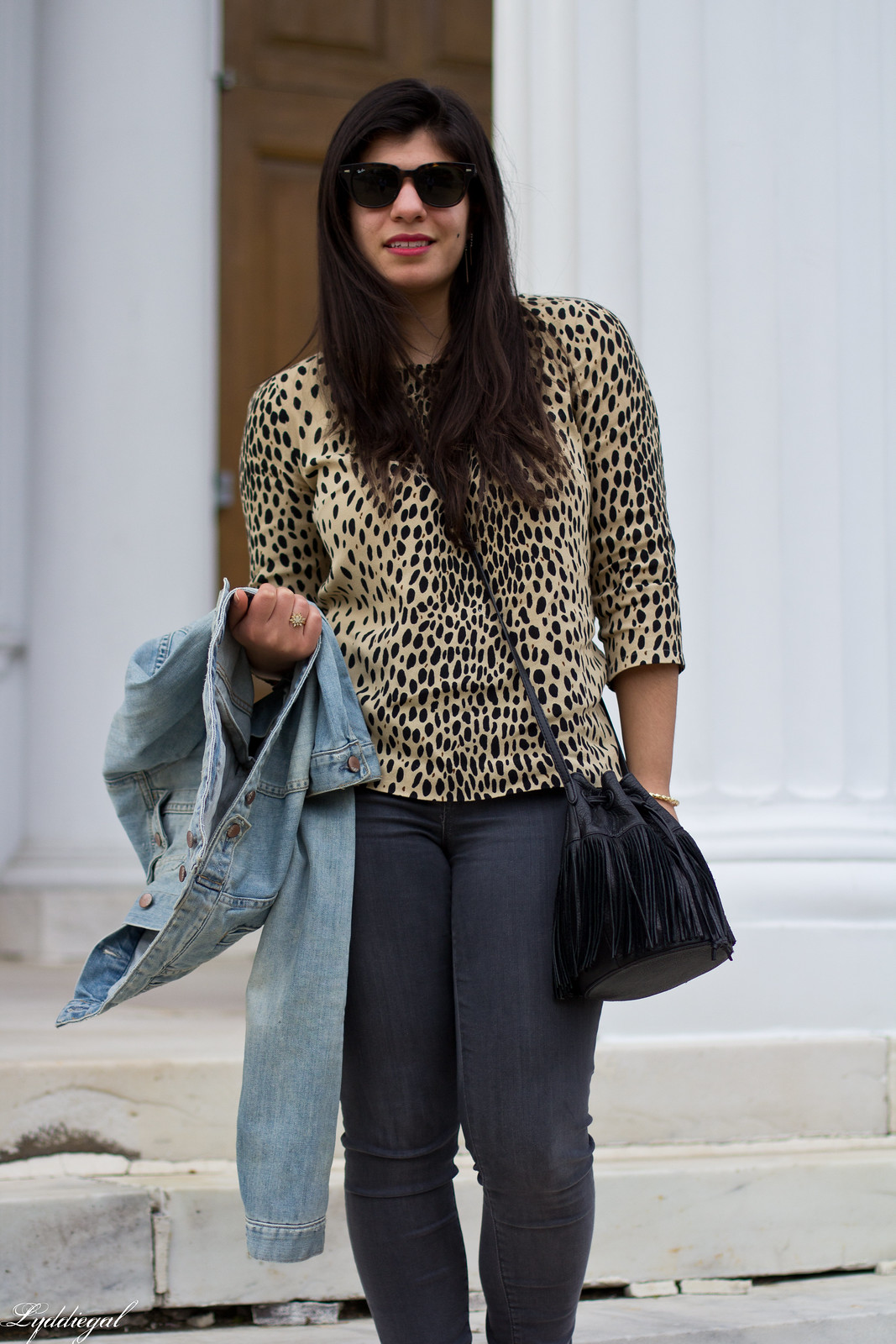 leopard blouse, grey jeans, denim jacket, fringe bag-4.jpg