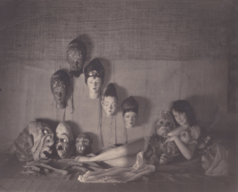 William Mortensen - Courtney Crawford with Masks, 1926
