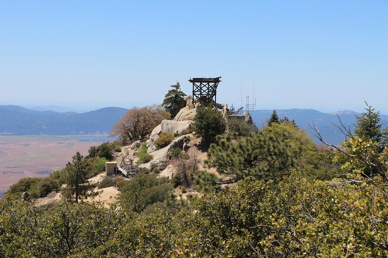 View of the derelict Fire Tower on Hot Springs Mountain as we climb to the true summit