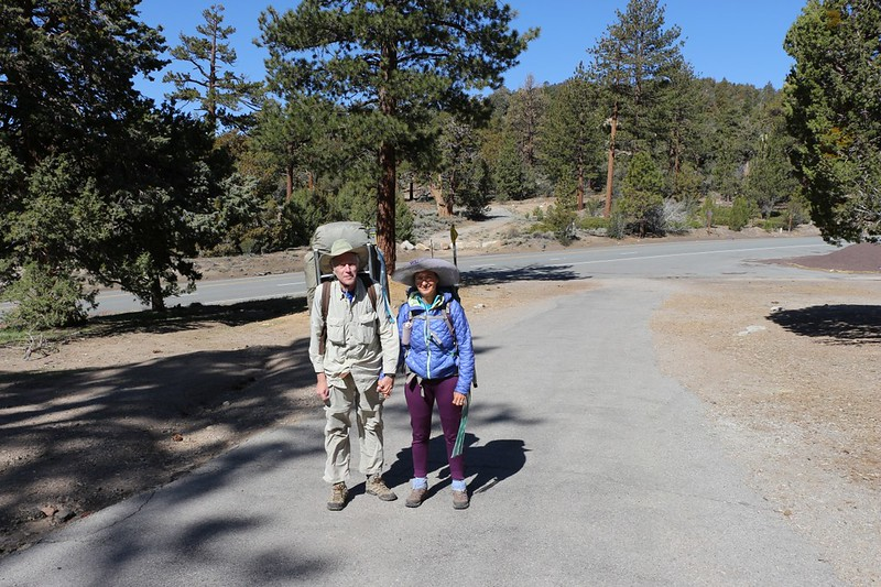 Vicki and I ready to hike the Pacific Crest Trail southbound from Onyx Summit near Big Bear mile 252