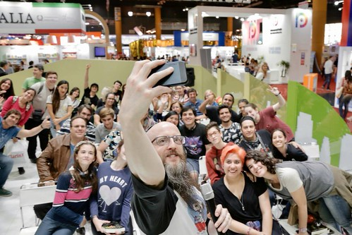 Photo of me taking a selfie at my book fair presentation