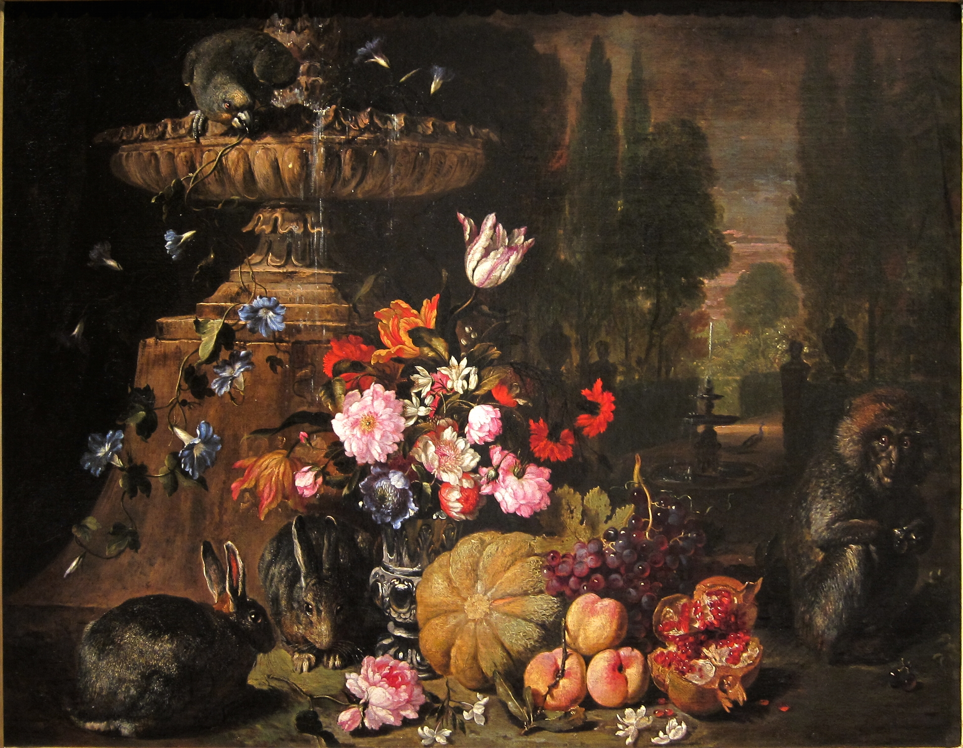 Still Life of Fruits and Flowers with Animals, David de Coninck (ca. 1644-after 1701)