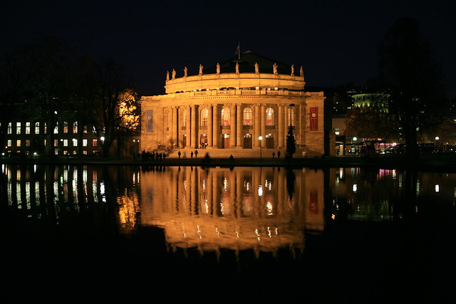 Stuttgart city center opera house by night