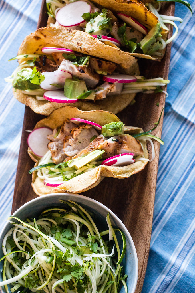 Tequila Lime Chicken Tacos with Zucchini Slaw