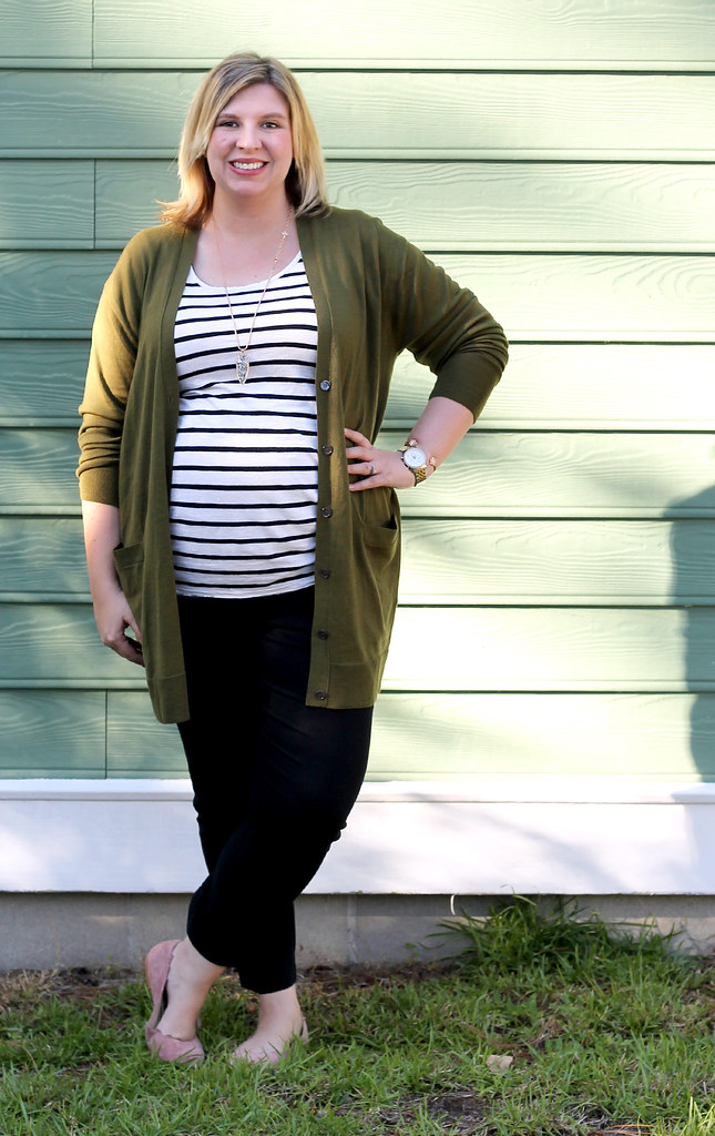 long olive cardigan, stripe tee, black pencil pants 4