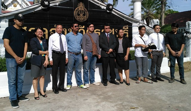 Defendants and lawyer of the Vote no sticker at Ban Pong case 24 March 2017