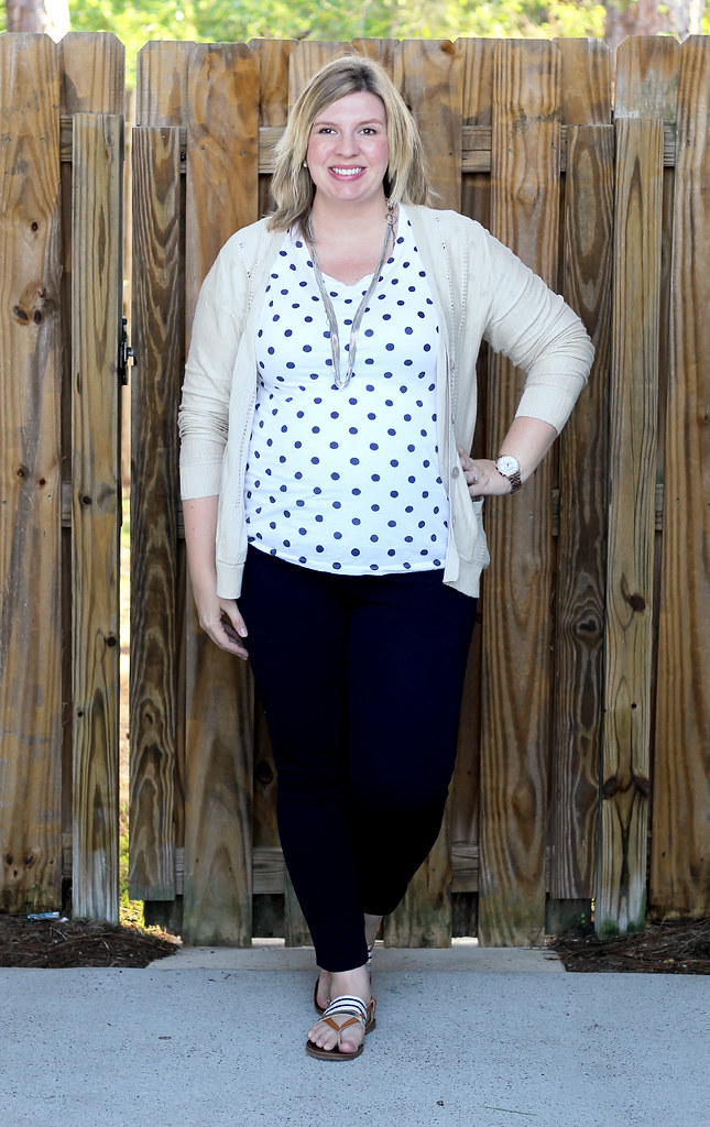 polka dot tee, navy maternity pencil pants, tan cardi 2