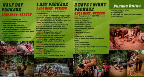 Elephant Jungle Paradise Park Chiang Mai Thailand Brochure 2