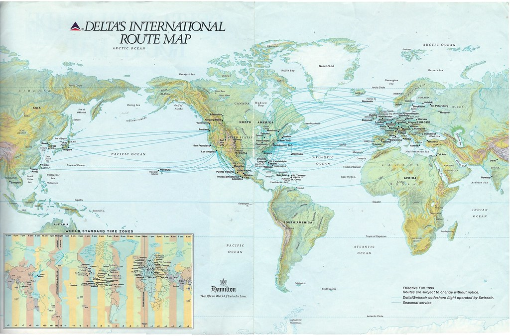 Delta\'s international route map, Fall 1991 | Delta Air Lines… | Flickr
