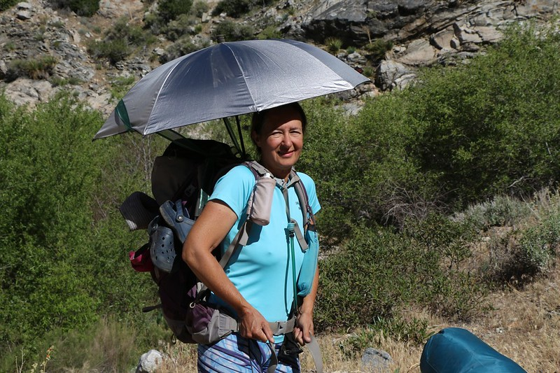 Vicki makes her first attempt at deploying the Chrome-Dome umbrella as the sun's heat increases on the PCT