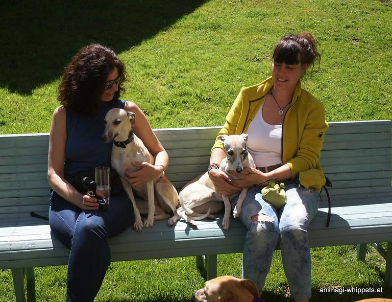 Sylvia mit Aika und Conny mit Channi. Die Verwandtschaft über deren Oma Nisha ist unverkennbar!