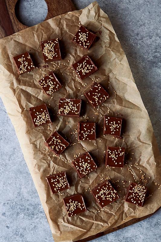 Boosted Chocolate Tahini Fudge {Gluten-free, Paleo}