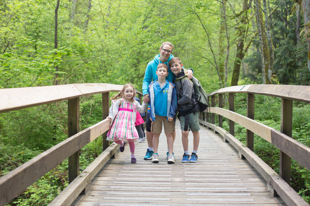 Mom and kids on bridge
