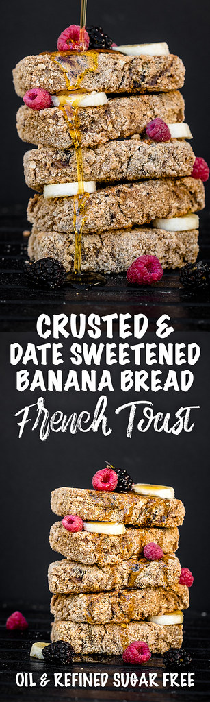 Crusted & Date-Sweetened Banana Bread French Toast {oil-, gluten- & refined sugar-free} sweetsimplevegan.com #sugarfree #refinedsugarfree #vegan #breakfast #frenchtoast #healthy #oilfree #lowfat #glutenfree #bananabread