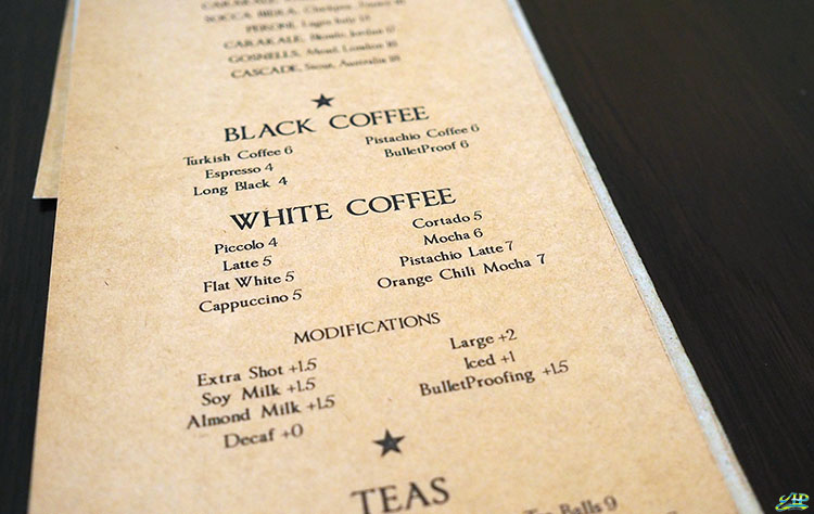 Fat Prince cafe coffee menu