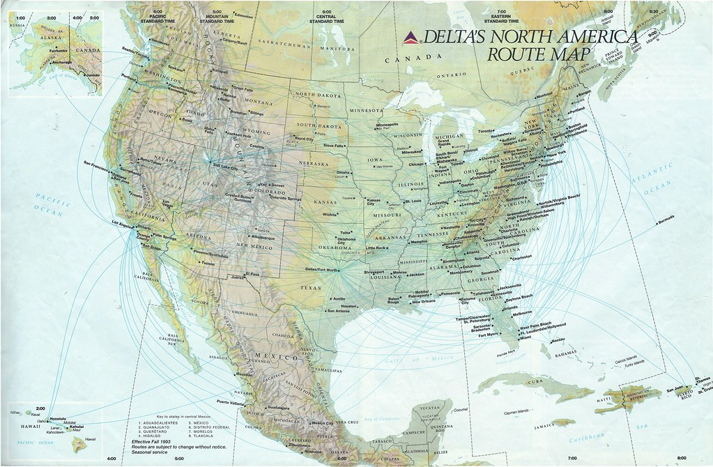 Delta\'s North America route map, Fall 1991 | Delta Air Lines… | Flickr