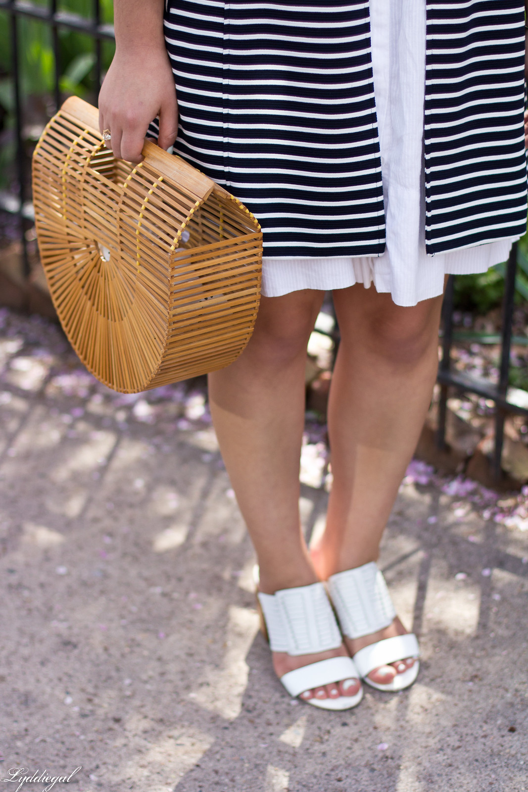 white dress, striped coat, white mules, straw hat.jpg