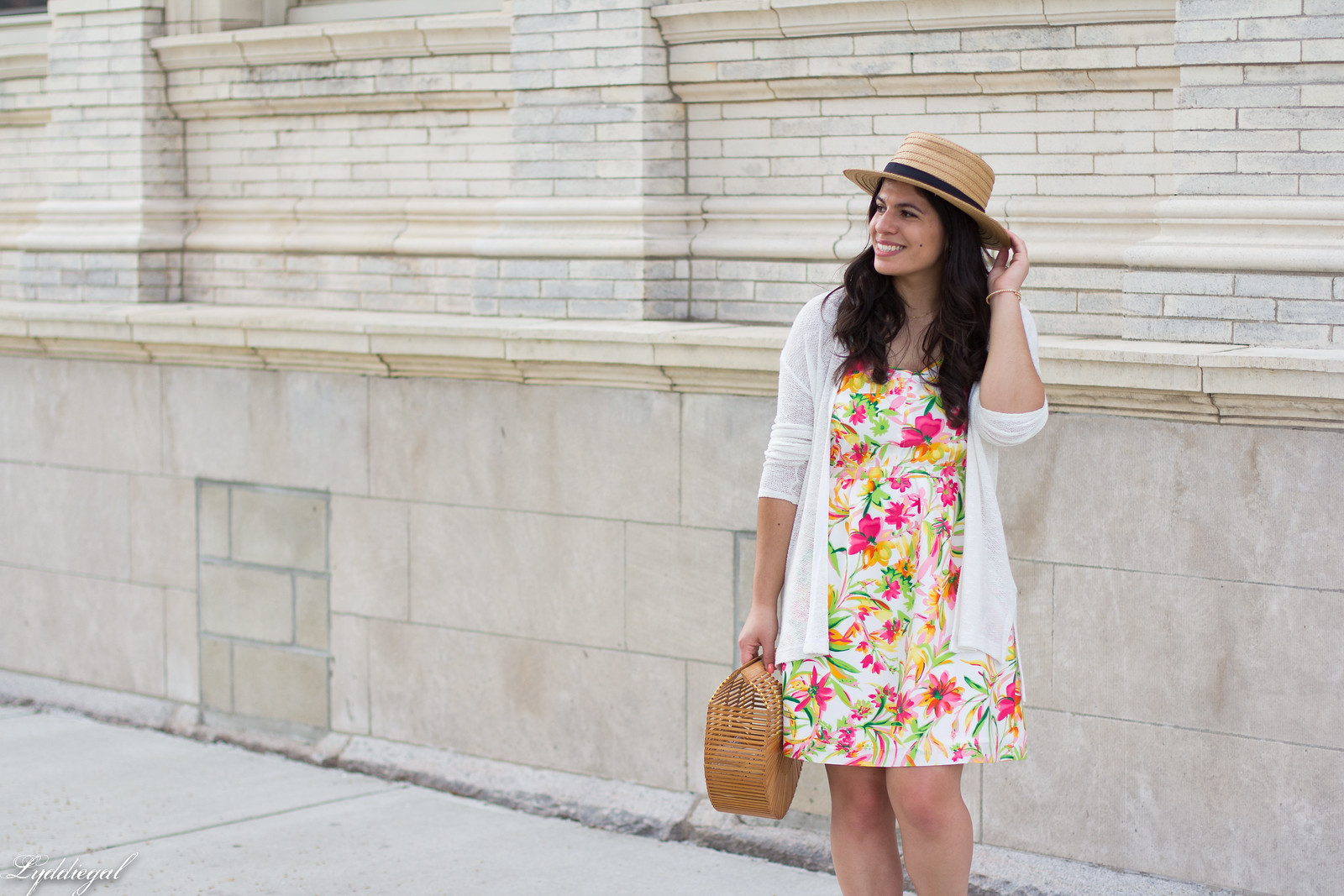 floral dress, white cardigan, straw hat, bamboo bag-2.jpg